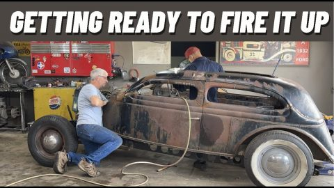 GETTING READY TO FIRE UP THE 1935 HUPMOBILE / FORD HOT ROD